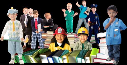 IMAGEM: crianças caracterizadas como diferentes profissionais