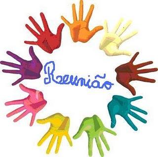 ILUSTRAÇÃO: A palavra Reunião está no centro de um círculo formado por mãos coloridas