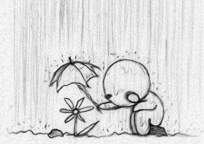 IMAGEM: desenho em preto e branco de uma pessoa protegendo uma flor com  o guarda-chuva