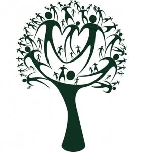 DESCRIÇÃO DA IMAGEM: Desenho de uma árvore em preto sobre fundo branco que tem os galhos formados por pessoas.