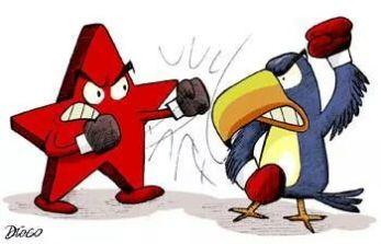 DESCRIÇÃO DA IMAGEM: ´Trata-se de uma ilustração onde, com luvas de boxe, uma estrela vermelha e um tucano azul, símbolos dos partidos dos candidatos à presidência, estão brigando.